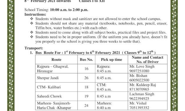 Circular: School Reopen