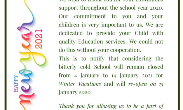 Notification for Winter Vacations