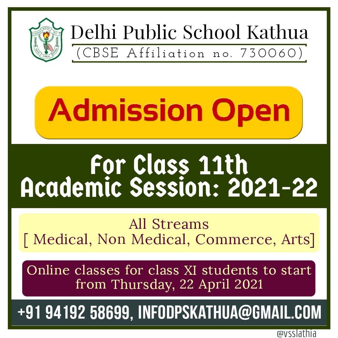 Admission open, Kathua, cbse, xi